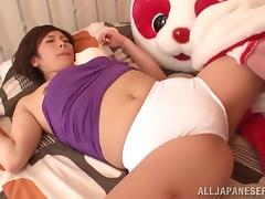A funny clip of a Japanese babe dressed like a mascot getting fucked tube porn video
