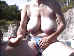Hairy British Mature  Masturbation in the boat tube porn video