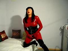 Doll in latex catsuit and female mask have some fun tube porn video