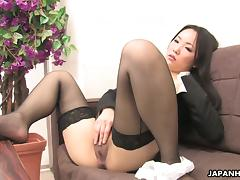 Ai Mizushima, wearing stockings, fingers her Japanese pussy tube porn video