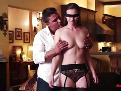 A blindfolded girl cums as she gets fucked by a stranger tube porn video