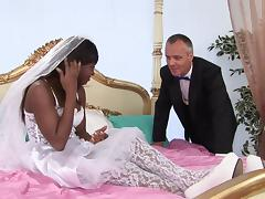 Ebony bride sucking dick and getting asshole and pussy fucked tube porn video