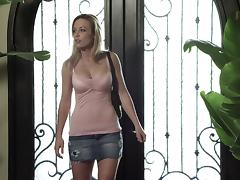 Mini-skirt clad blonde with big beautiful tits sucking her boyfriend's huge cock tube porn video