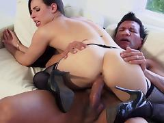 Dainty brunette cowgirl in fishnet stockings gives a blowjob then gets slammed hardcore tube porn video