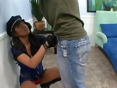 Hot brunette in cop uniform gives titjob and gets pussy fucked tube porn video
