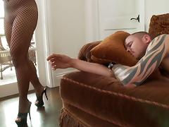 Naomi Lee, wearing fishnet bodystocking, gets her pussy fucked deep tube porn video
