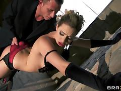 Sexy black gloves and stockings are hot on the blonde he bangs tube porn video
