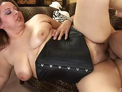 Chubby Reyna Slade in a black corset fucked in her hairy fat pussy tube porn video