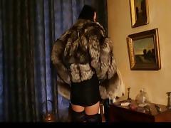 Hot Brunette in silver fox fur coat tube porn video
