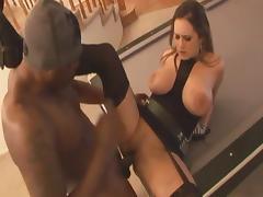 Wonderful milf with big breast Trina Michaels fucks black guy tube porn video