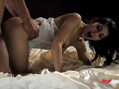 Dreamy white lingerie on a beauty he fucks on satin sheets tube porn video