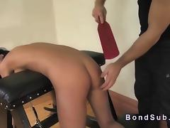 Bent over ### paddled and throat banged tube porn video