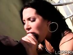 Horny Spanish girl blows huge black cock in the balcony tube porn video