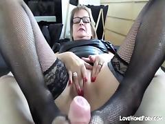 Mature German fucks and gives footjob in nylons tube porn video