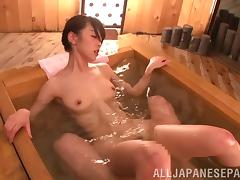 Her hairy Asian pussy is hammered in a hot tub by an older guy tube porn video
