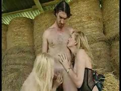Filthy farmer gets lucky with a pair of hot blonde bitches tube porn video