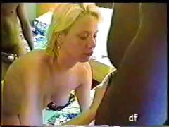 Blonde wife on vacation gets a coupe of black cocks to bang tube porn video