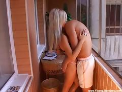 Lustful amateur blonde Vendi fucked on a terrace doggystyle tube porn video