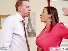 Brunette milf Sara Jay fucking in the office tube porn video