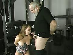 Cock-loving brunette smiles as she is bound, gagged, and her nipple clamped. tube porn video