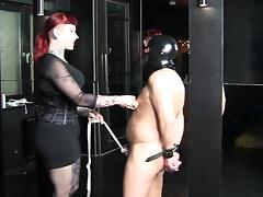 Femdom video with a hot slut punishing a slave tube porn video