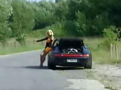 The woman hitchhiker fucking man tube porn video