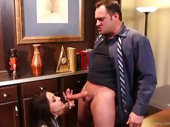 Gracie Glam gets her cunt ravaged with cock after BJ in office tube porn video