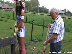 Slutty farm girl in rubber gloves and grandpa fuck outdoors tube porn video