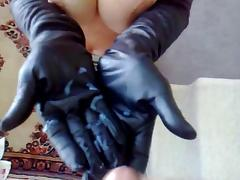 Cum all over her leather gloves tube porn video