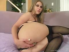 Cute Megan Reece in stockings masturbates,blows and fucked doggystyle tube porn video
