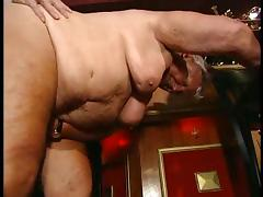 Fat grandma fucked in a bar tube porn video