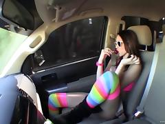 Katie Summers in stockings gets facial cumshot after fucked Hardcore in car tube porn video
