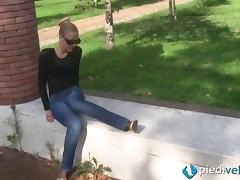 Outdoors she kicks off her shoes and rubs her nylon clad feet tube porn video