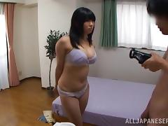 Sex-insane Japanese chick gets cum on her big tits after riding a stiff rod tube porn video