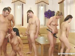 Four dudes gangbanging three cock thirsty bombshells tube porn video