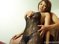 Body stocking girl with sexy curves filled with dildo and dick tube porn video