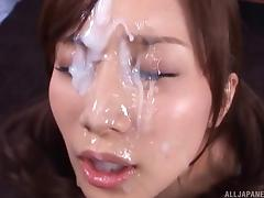 Perverted Asian slut gets blowbanged & covered in creamy cum tube porn video