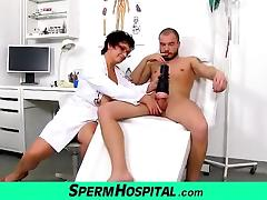 Big tits cougar Greta is naughty nurse at sperm bank clinic tube porn video