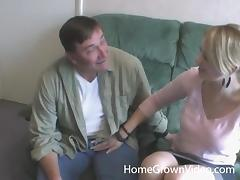 Gorgeous blonde sucks and fucks with an older guy like a cowgirl tube porn video