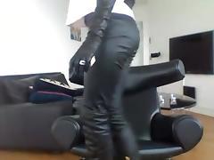 Smoking brunette - pants + boots tube porn video
