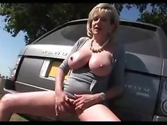 MILF FINGERING ON COUNTRY SIDE...HUGE MELONS!! tube porn video