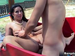 Athina in Natural Tit Brunette Fucked In Public Video tube porn video