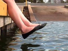 Crystal's black ballet flats shoeplay barefoot muddy tube porn video