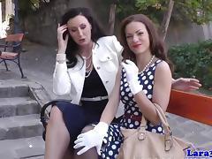 Nylon fetish mature spanking her petite pal tube porn video