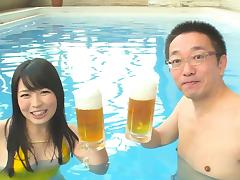 Vacationing Japanese couple fuck in the pool at the hotel tube porn video