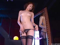 Stockings are beautiful on a toy fucking Japanese babe tube porn video