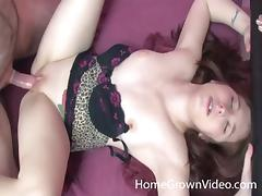 Home video of a couple fucking doggystyle then he nuts on her ass tube porn video