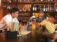 Three horny gay hunks fuck in a pub tube porn video