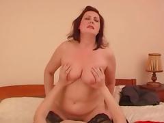 Chunky Russian mature redhead taking a vigorous and deep dicking tube porn video