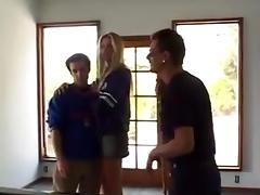 Four guys fuck a blonde and double penetrate the bitch tube porn video